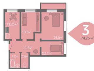 Продажа квартир: 3-комнатная квартира, Краснодар, ул. им Жлобы, 108, фото 1