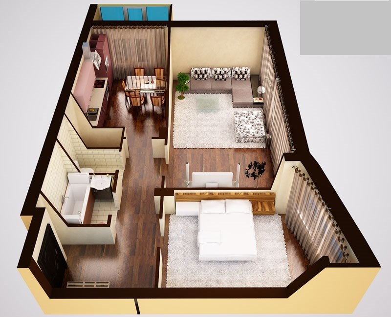 Дизайн проект двухкомнатной квартиры 57 квм.